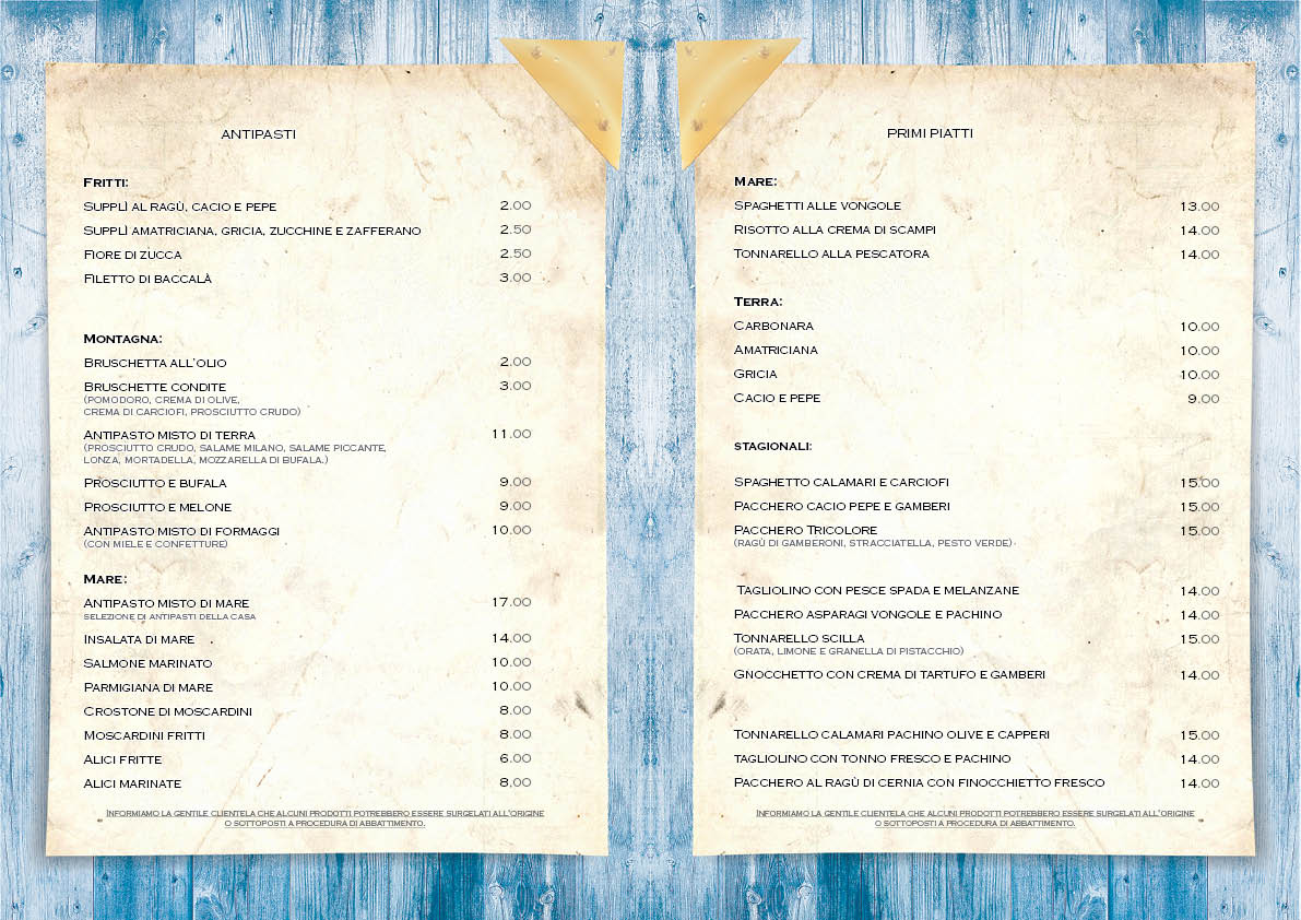 Pinetina Beach Village Ristorante Menu